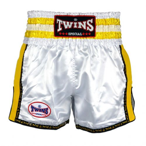 Twins TWS-929 White/Yellow Retro Muay Thai Shorts